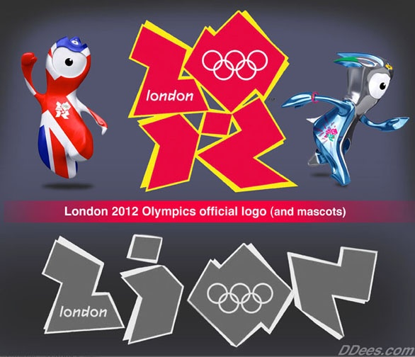 2012 Olympic logo with the two mascots.