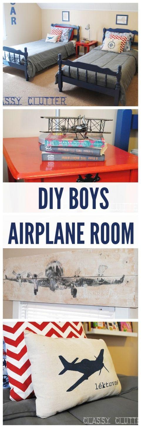 DIY Boys Airplane Room