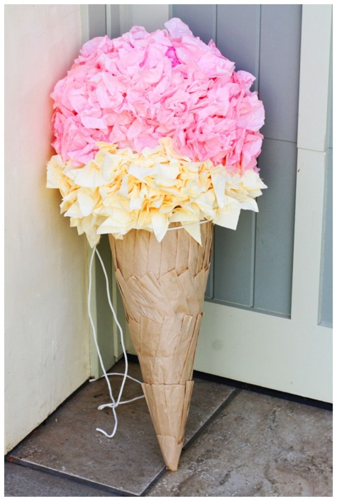 DIY Ice Cream Cone Piñata! Aurora Graphic Studio loves this with our Ice Cream Invitation available at: Etsy.com/listing/178171914/ice-cream-birthday-party-invitation