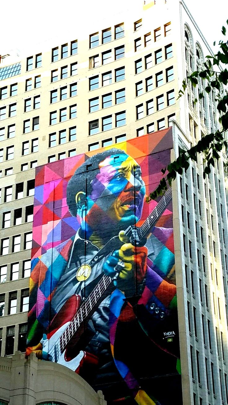 Chicago, IL.  Street Art & Graffiti.  The great Muddy Waters as captured by the amazing Eduardo Kobra @kobrastreetart  I have seen many Kobra pieces in South America and then realized I had actually taken this some time ago, in my backyard.  Kobra is truly amazing (have from Rio de Janeiro and SP).  Original Photograph by R. Stowe