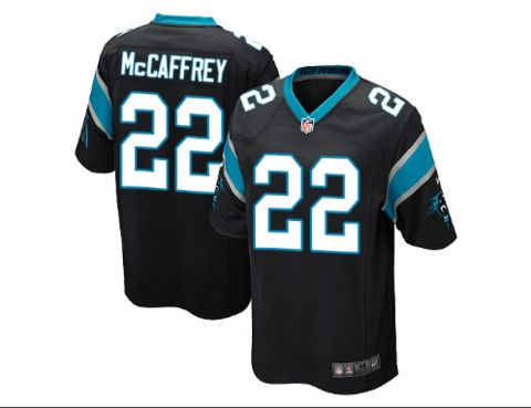 Men's Carolina Panthers #22 Christian McCaffrey Black Nike NFL Elite Jersey