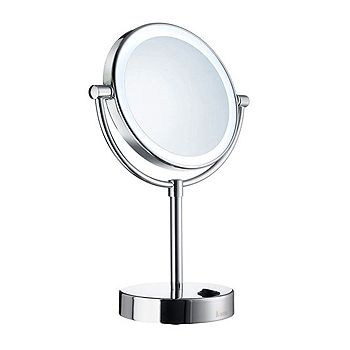 Smedbo Outline Free Standing LED Shaving And Make-Up Mirror Polished Chrome FK474
