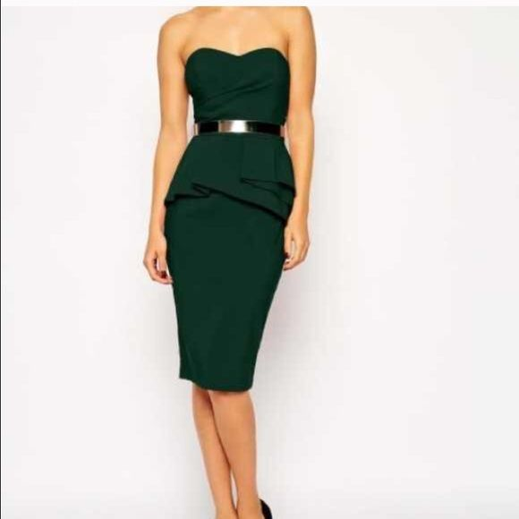 ASOS Forest Green Pelpum Dress ⭐️SALE⭐️ Perfect condition. Just too small on me  needs a new home!! Reposhing just trying to make money back. Price Firm NO TRADES ASOS Dresses Strapless