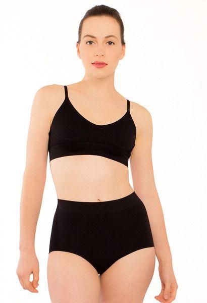 Full Brief Black Seamless Light Cotton Comfort with Maximum Coverage B Free Intimate Apparel