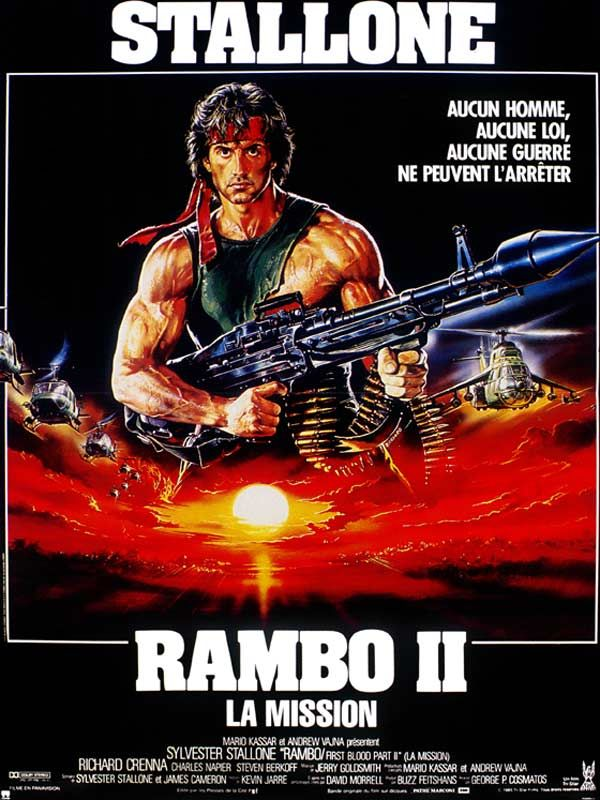 Rambo II : la mission est un film de George Pan Cosmatos avec Sylvester Stallone, Richard Crenna. Synopsis : John Rambo purge une peine de prison lorsque le Colonel Trautman lui donne la possibilité de sortir pour une mission délicate : avoir la preuve qu'il