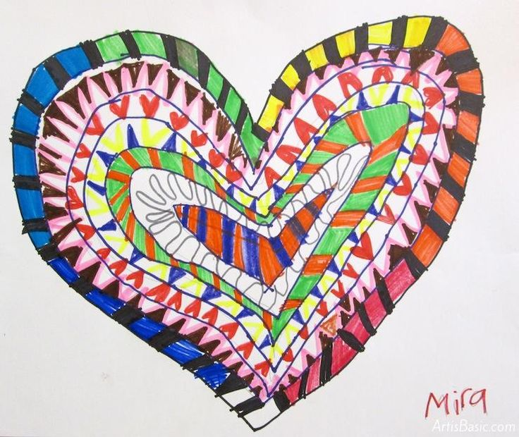Concentric Patterned Hearts: 2nd Grade