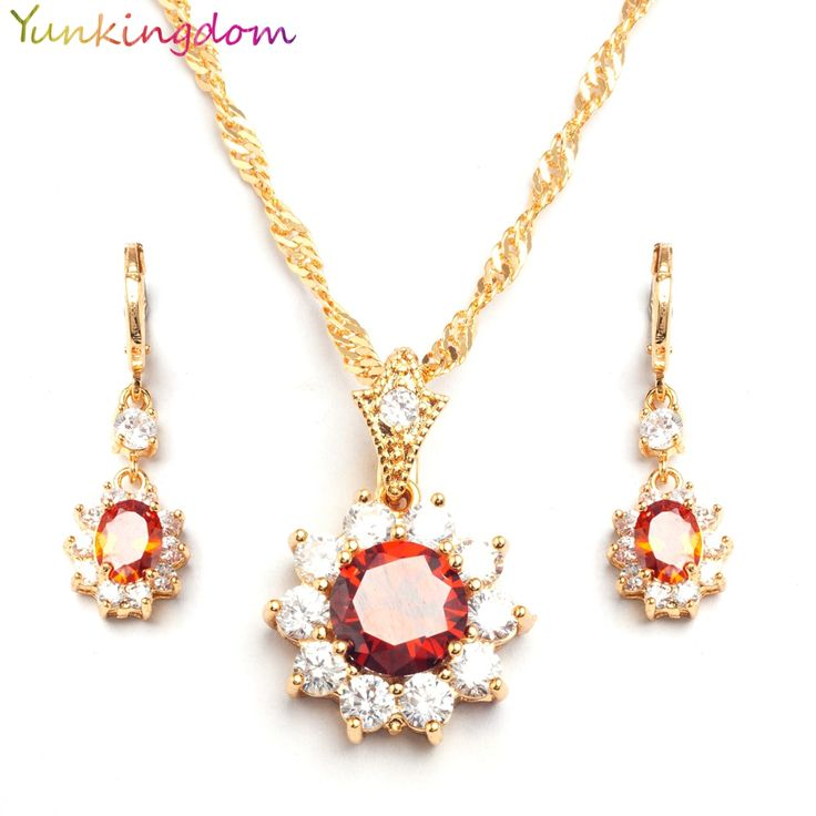 Yunkingdm 2017 new fashion Wedding jewelry sets synthetic ruby earrings necklaces for women CZ synthetic gemstone bijoux BB0004