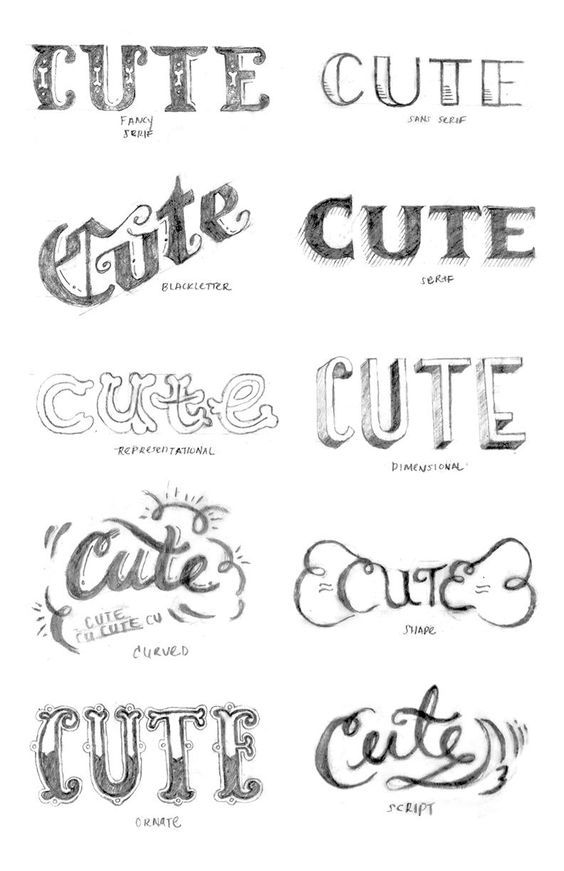 Love all the exploration by Chanelle Y. for her lettering warm-up. The First Steps of Hand-Lettering: Concept to Sketch - Project Gallery - Skillshare: