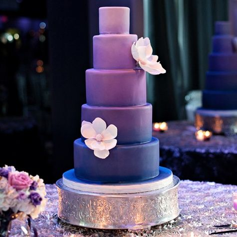 purple wedding cake for a purple and blue wedding color schemed