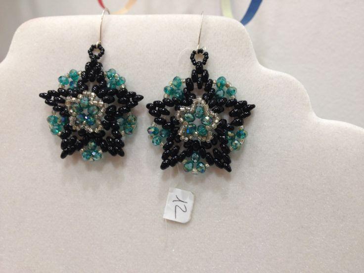 Orecchini Magic neri con cristalli verde smeraldo di Loscrignodellevanita su Etsy
