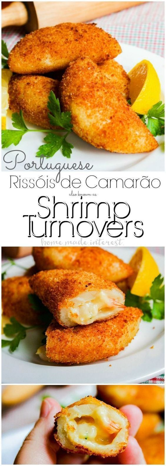 Portuguese Shrimp Turnovers   My favorite appetizer for parties and celebrations are these Portuguese Shrimp Turnovers or Rissóis de Camarão. These shrimp dumplings are the ultimate Portuguese tradition and you'll find them at every party and big event. This Shrimp turnover recipe is one of the best party appetizer recipes you will ever try. These shrimp dumplings are a make ahead appetizer recipe and they made a great seafood recipe for Lent or Easter Brunch recipe.
