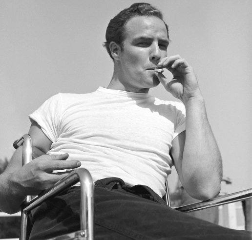 Marlon Brando takes a break while training for his role in The Men, 1949.