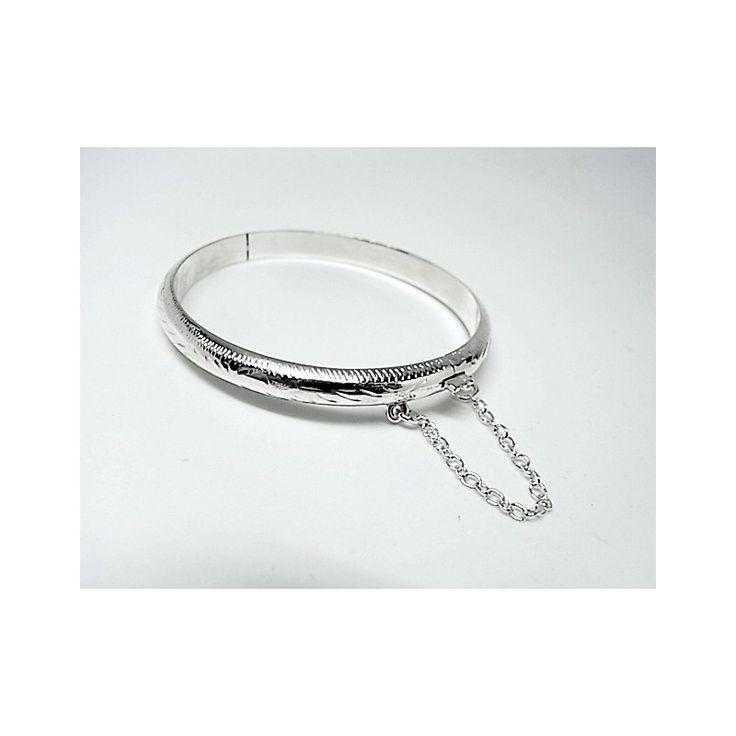 Pulsera de plata de primera ley tallada estilo brazalete de media caña de 5 mm de diámetro para niña