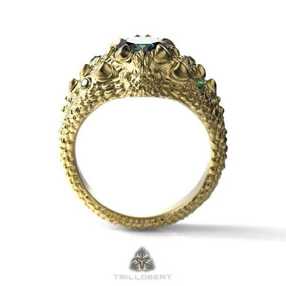 Gold Dragon Eye Ring with precious gemstones.  This beautiful fantasy ring can be made in yellow, white or rose gold with 5x7mm central and 1.5mm accent precious gemstones ... #etsy