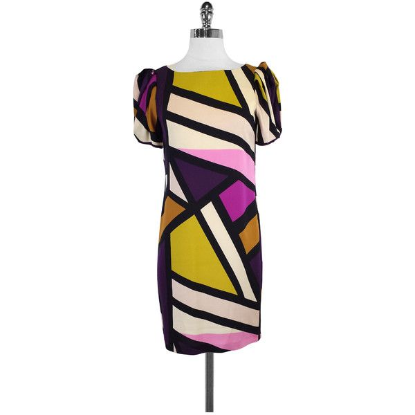 Pre-owned Diane von Furstenberg MultiColor Silk Short Sleeve Dress ($115) ❤ liked on Polyvore featuring dresses, purple, silk dress, silk slip on dress, purple silk dress, multi-color dresses and multi coloured dress