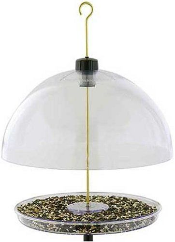 Cardinal Feeder & for others:  a versatile platform feeder that can be hung or pole mounted, & the 15′ dome can be lowered to exclude large birds & protect the seed from the weather.