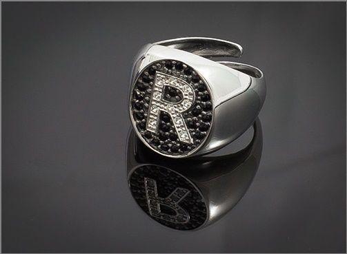 Anello Donna Think Positive regolabile con iniziale R in argento 925 e swarovski