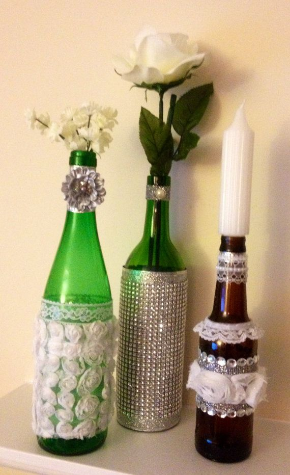 Upcycled wine bottle centerpieces with lace by for Bottle centerpieces