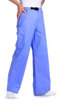 33P - Scrub Pants - Buckle Scrub Pants wide leg scrub pant with adjustable buckle closure. One cargo pocket, one back pocket.