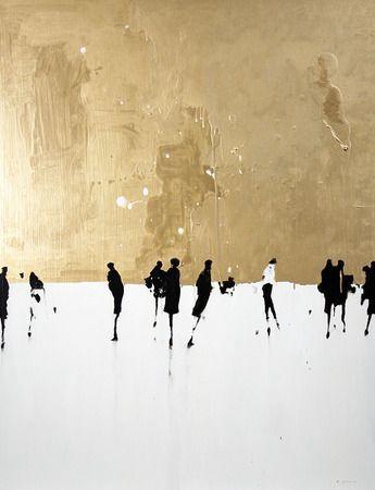 Geoffrey Johnson, Gold & Black, 2015, Oil on panel, 40 x 30 inches