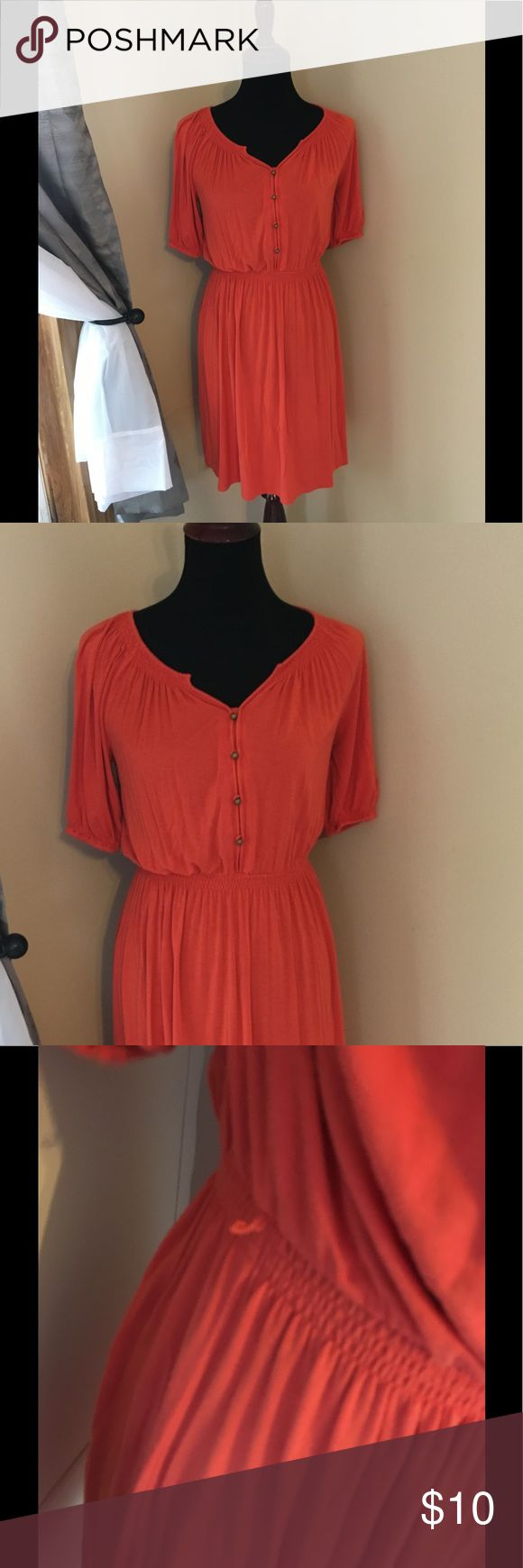 Ann Taylor Loft Fall Orange Dress Size 4 Petite Tshirt Knit dress by Ann Taylor Loft.  Autumn orange color.  Elastic cinched waist.  Has string belt loops, no belt included.  Size 4 petite. Dress is 35 inches long.  Good condition.  Important:   All items are freshly laundered as applicable prior to shipping (new items and shoes excluded).  Not all my items are from pet/smoke free homes.  Price is reduced to reflect this!   Thank you for looking! LOFT Dresses Midi