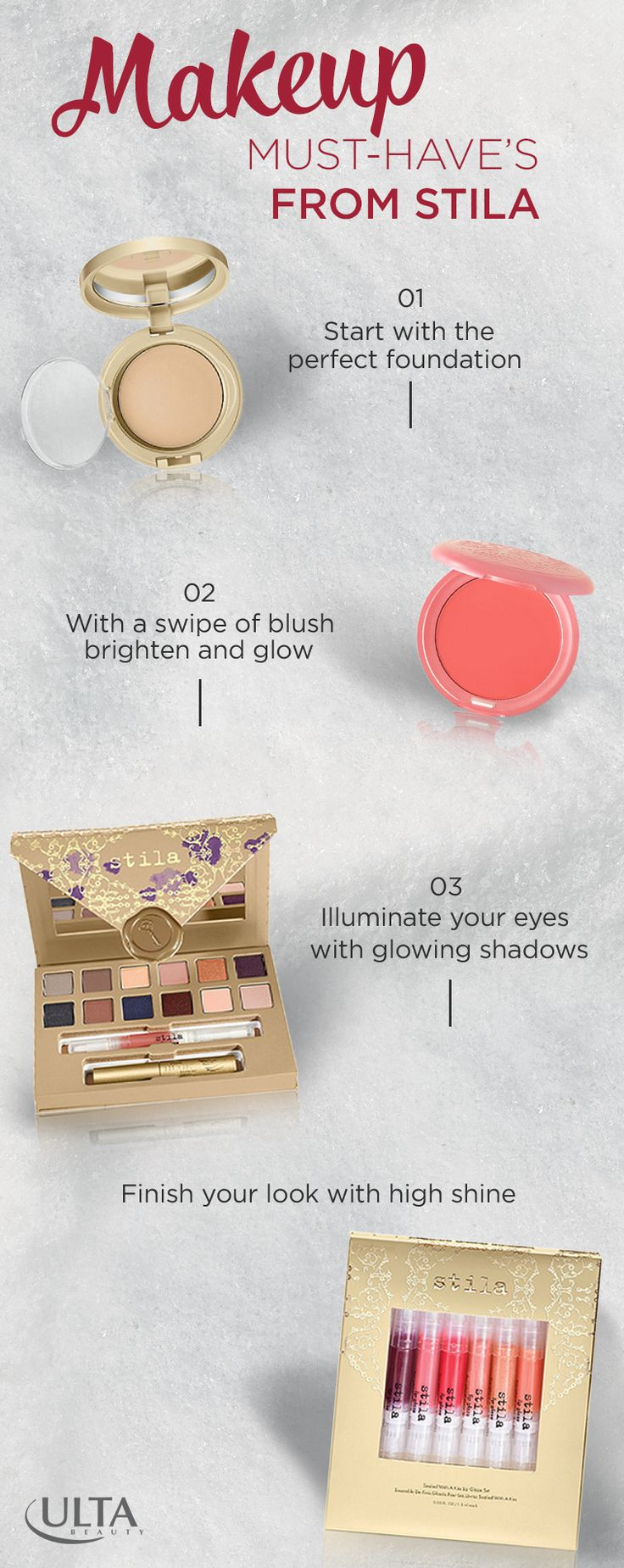 Whether it's a holiday dinner or a new year's party, shine and shimmer this season with Stila's collection of gift sets. Get a holiday look worthy of turning heads with Stila's lip gloss, Perfectly Poreless Putty Perfector, Convertible Blush-In-One, Eyeshadow Palette and more. Find your must-have Stila style this holiday, only at Ulta Beauty.