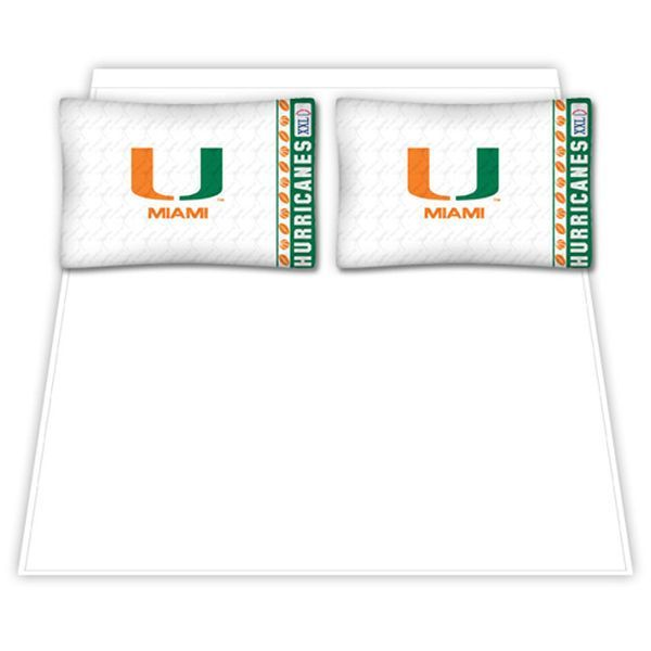 Miami Hurricanes Queen Size Sheet Set - $69.99