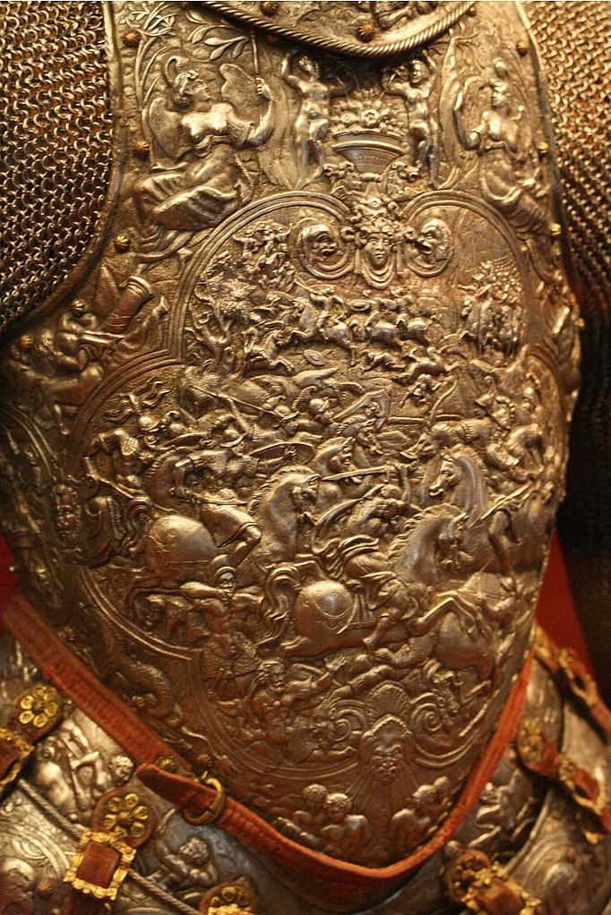 european french half armor embossed steel with traces