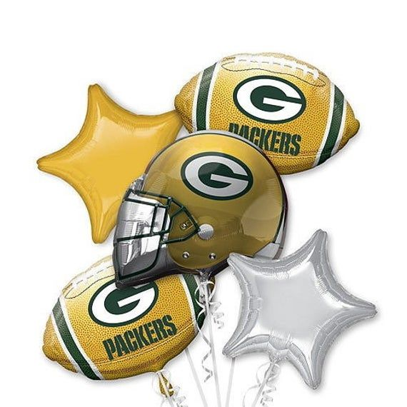 Green Bay Packers Football Balloon Bouquet Packers Balloons Etsy Green Bay Packers Party Packers Party Green Bay Packers Birthday