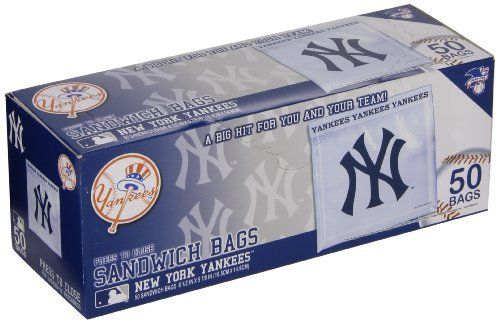 "Spectrum 5815-10001 MLB Plastic New York Yankees Sandwich Press to Close Bag (Pack of 50) by Spectrum. $4.00. Show off your team pride with the new Officially Licensed New York Yankees sandwich bags. Our press to close printed bags are 100 percent leak proof making them both durable and fun. Perfect for your favorite sandwich, snack or goodie bag. Carry your team with you wherever you go. Imported. Bag measures approximately 5-7/8"" length by 6-1/2"" height. Come in cardboard box."