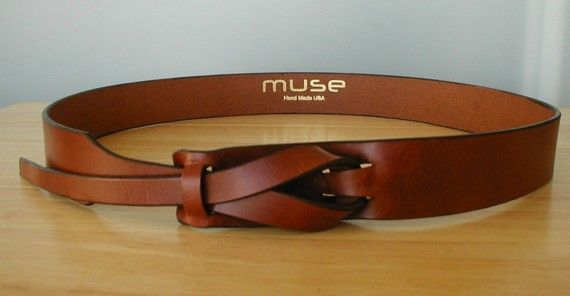Cognac Leather MUSE Belt width 1 1/4 inches by MuseBelts