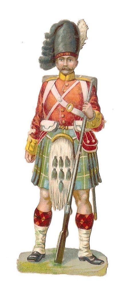 Soldat - - Uniforme Ecosse Fusil Kilt - - Chromo Decoupi  - Victorian Scrap