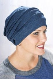 all cotton slouchy snood cap for hair loss, cancer and modesty in denimhttp://www.headcovers.com/headwear/hats-turbans/
