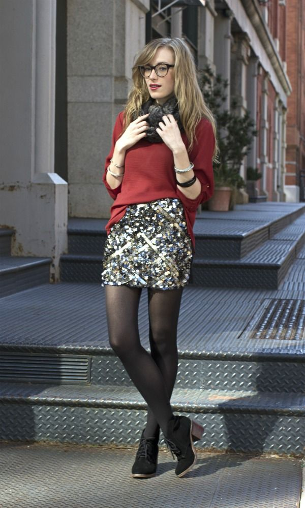 Geek Chic - this Catherine Malandrino sequin skirt is stunning, especially when paired with the billowy red blouse.