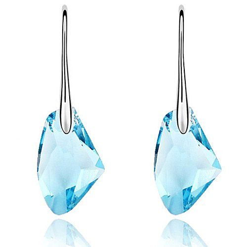 18k White Gold plated drop earrings with Large Ice Blue Austrian Crystals http://lily316.com.au/shop/collection/white-gold-earrings-with-large-blue-austrian-crystal/