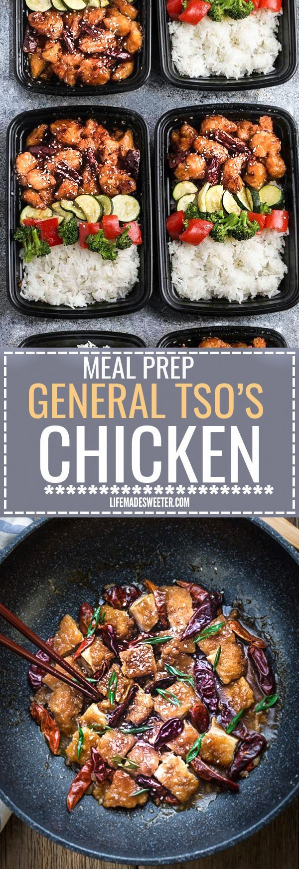 General Tso's Chicken Meal Prep Bowls makes the perfect easy weeknight dish full of authentic flavors. Best of all, so easy to make and way better than your favorite Chinese takeout restaurant. Great for meal prep Sunday and leftovers can be used for work or school lunch bowls!