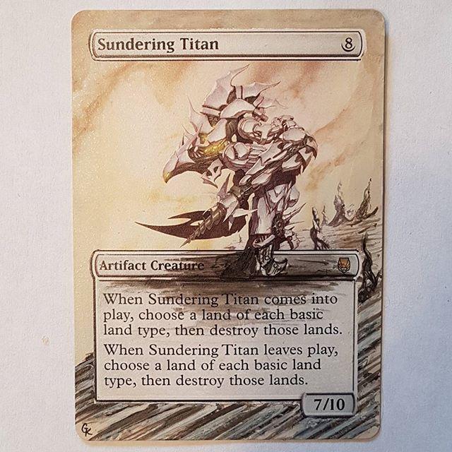 Sundering Titan alter.   Give my partners a follow:  @ssg_mtg   @titartwork   @mtgaltergirl     #mtg #mtgalteredart #mtgaddicts #mtgalter #mtgalteredcard #mtgcommunity #wotc #edh #magicthegatheringalter #magicthegathering #alteredcards #alteredart #acrylic #painting #tcg #gkalters