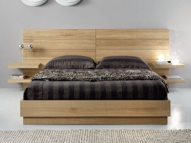 double bed with integrated bed-side tables FLYER by Domus Arte
