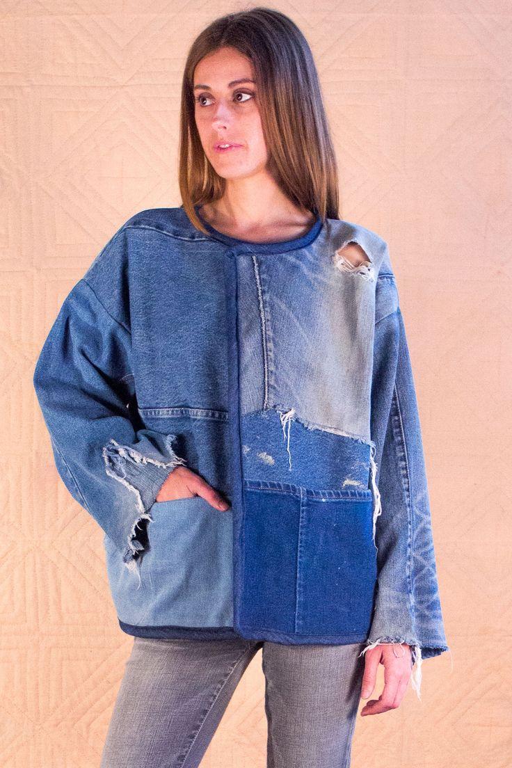 Bubbe's Jacket #SilkDenim #women's fashion #upcycle denim #vintage #denim #one-of-a-kind