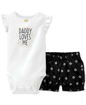 Carter's baby girls 2 piece bodysuit and shorts set.