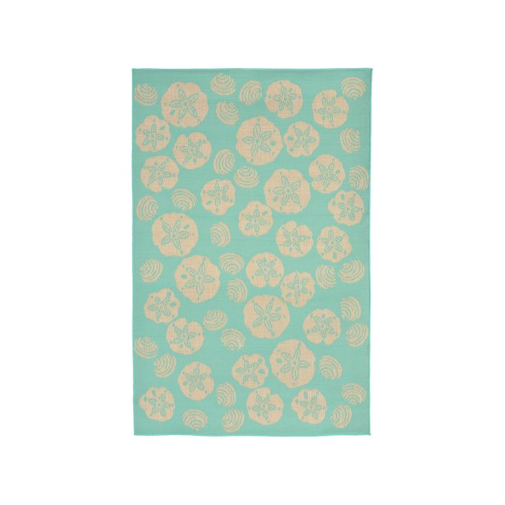 """Terrace Indoor/Outdoor Shell Toss Turquoise Rug 7'10""""X9'10"""" Blue - Liora Manne"""