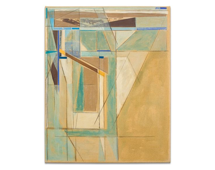 Original Painting Abstract Art Geometric Collage Mid Century Modern Art Earthy Contemporary 24x30 Canvas Turquoise Brown Blue White Green. $350.00, via Etsy.