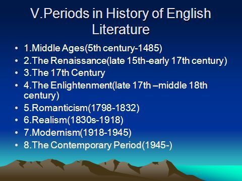 periods of english literature Choose one of the periods below: middle ages 16 th century early 17 th century.