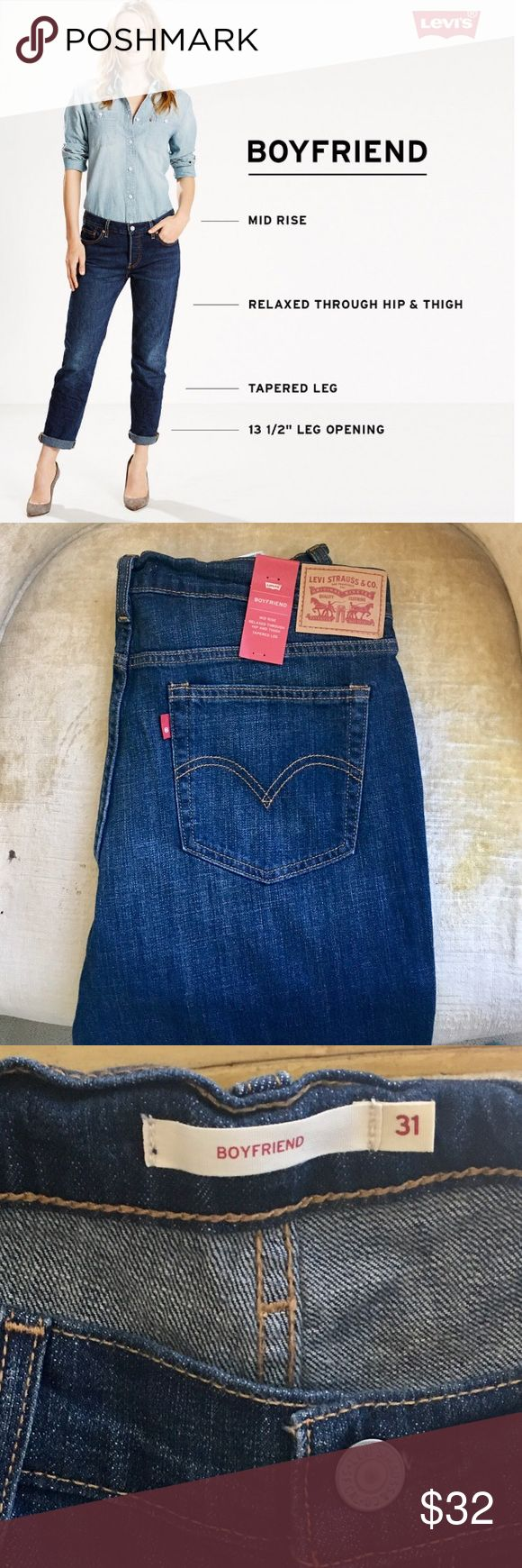 New!Levi's Women Boyfriend Jeans NWT Levi's Boyfriend Jeans. Steal his style and slip into these women's Levi's jeans, cut with a boyfriend fit and tapered leg. Bottoms can be cuffed or left uncuffed.   Zipper fly 25-in. inseam (cuffed) 27-in. inseam (uncuffed) Midrise sits at the hip Boyfriend cut is relaxed through hip & thigh, narrowing at the hem.   Machine wash 99% Cotton with 1% Elastane. Levi's Jeans Boyfriend