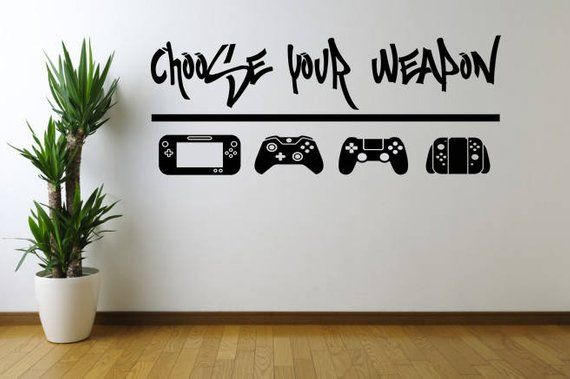 Choose Your Weapon  Video Game Wall Decal Sticker for game room or man cave