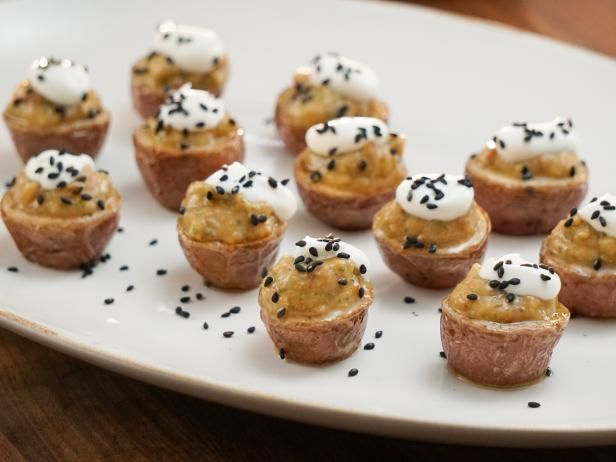 Get Roasted Baby Potatoes with Eggplant Caviar and Creme Fraiche Recipe from Food Network