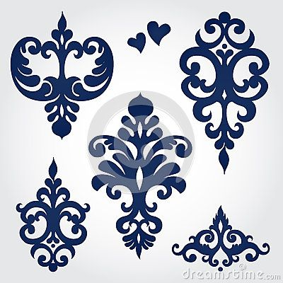 Vector set with baroque ornaments in Victorian style.