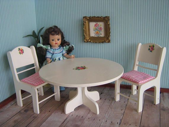 Vintage 50s White Wooden Table and Two Chairs w/ Cute 50s Rose