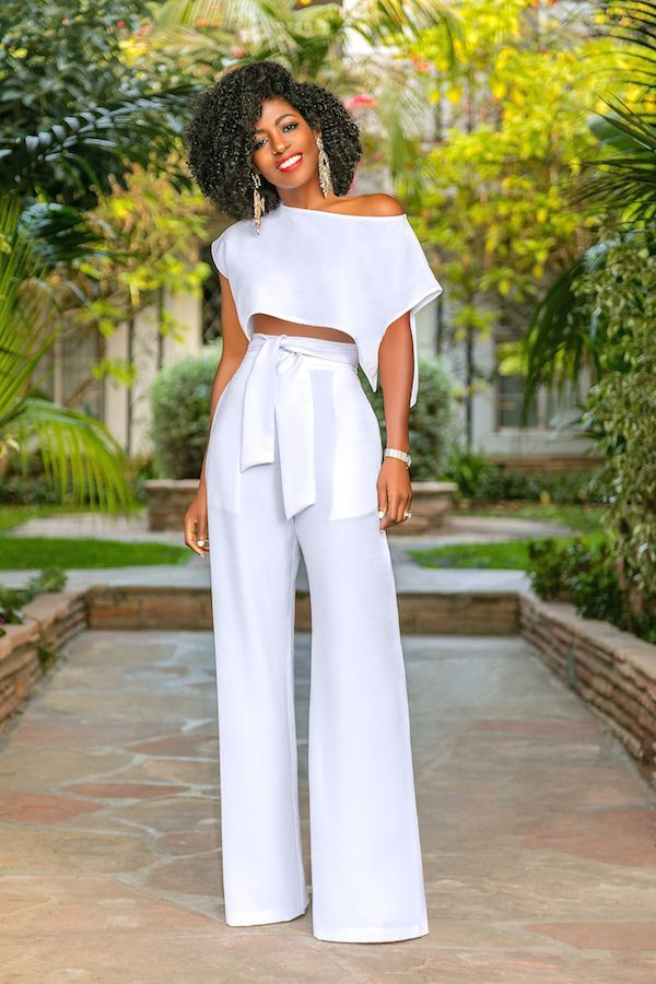 Side Slit Crop Top High Waist Belted Pants Style Pantry