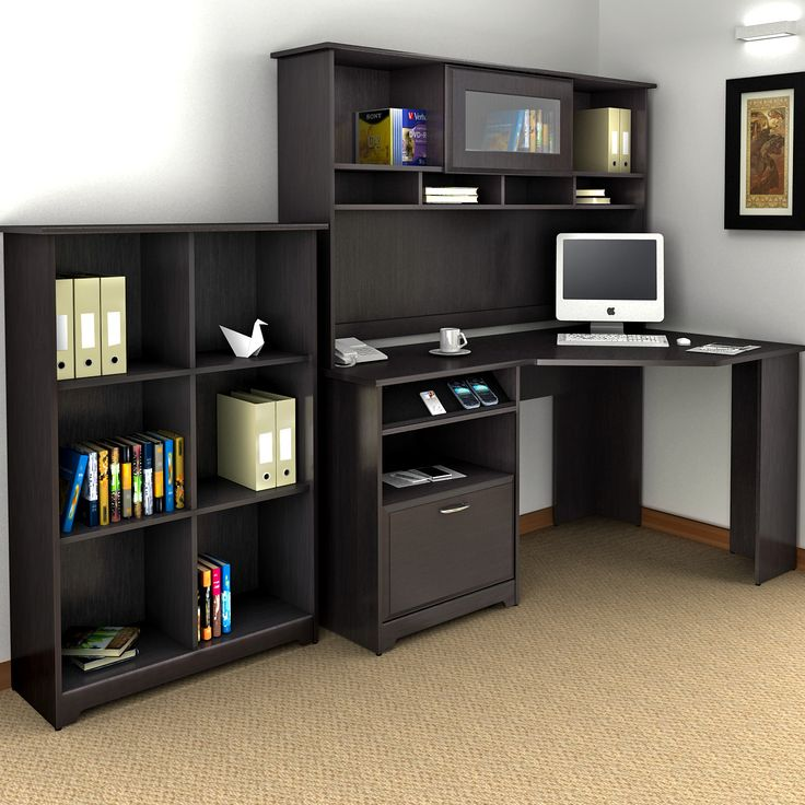 bush cabot corner computer desk with optional hutch this collection is what separates the office from your average workspace